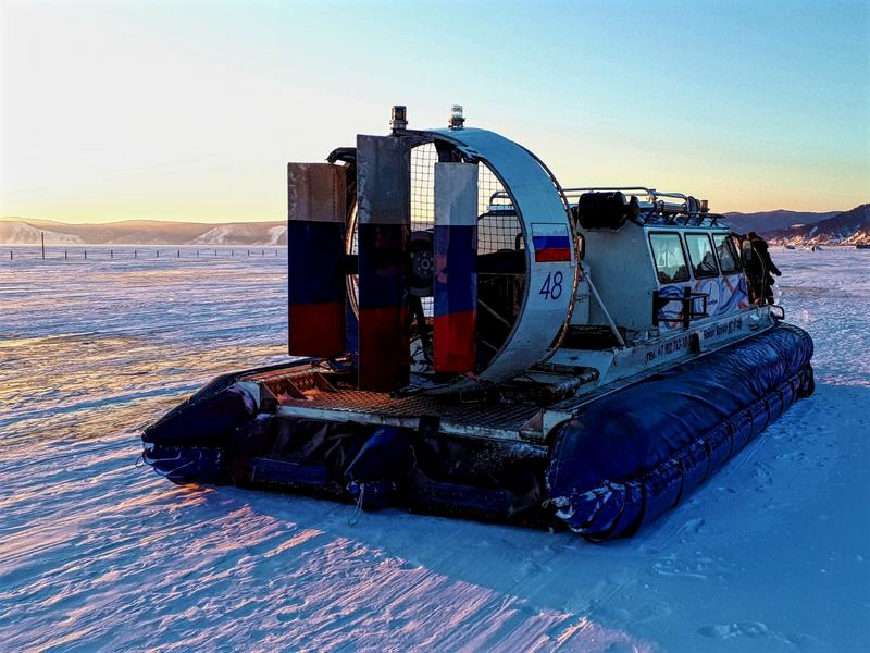 hovercraft baikal sunset