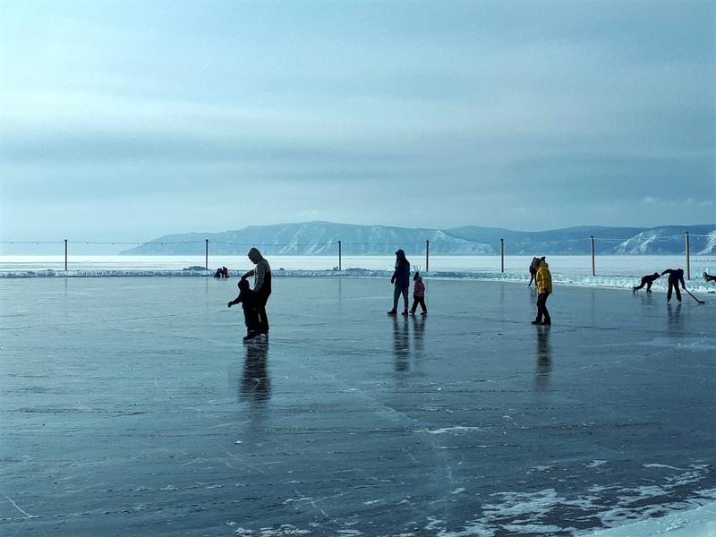 people skating lake baikal winter trip report