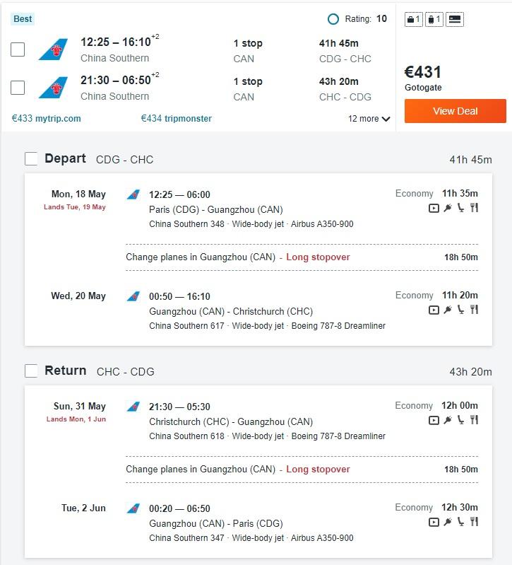 paris christchurch new zealand china southern flight deal