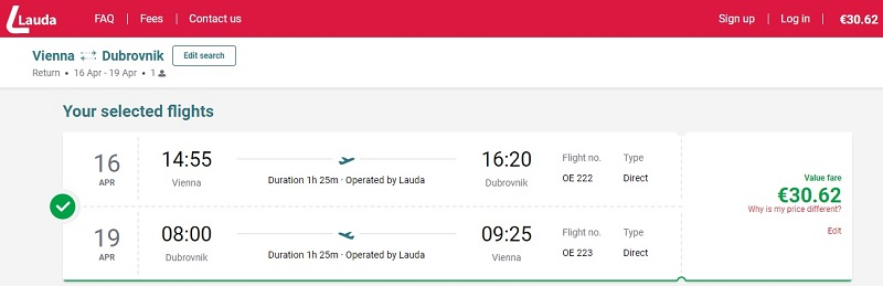 dubrovnik cheap flight laudamotion