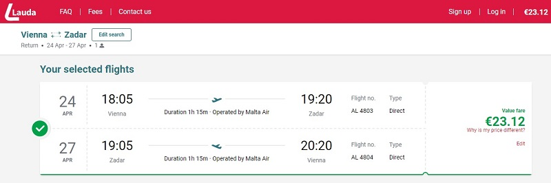 laudamotion zadar croatia cheap ticket
