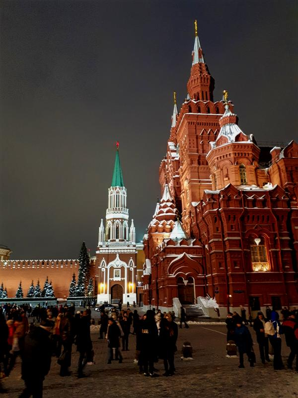 red square moscow night