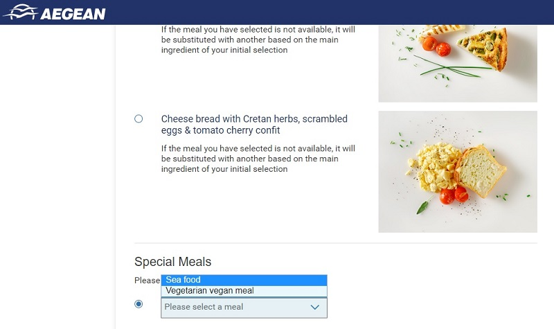 aegean business class meal selection online