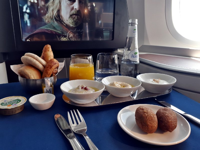 breakfast saudia business class review
