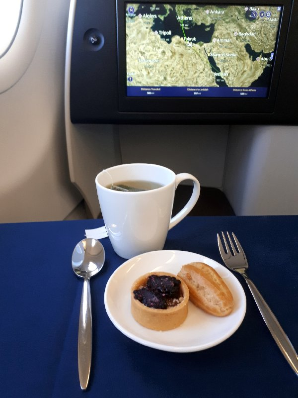 saudia business class review a320 dessert