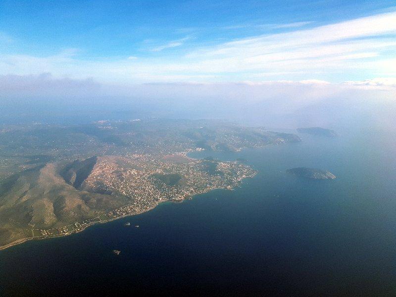 attica coastline view athens takeoff