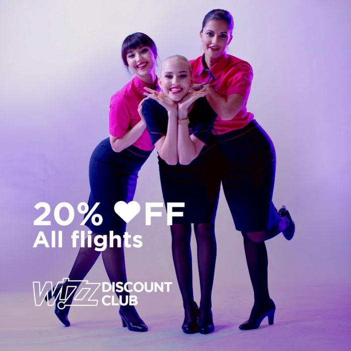 Wizzair 20 percent discount valentine's day promotion
