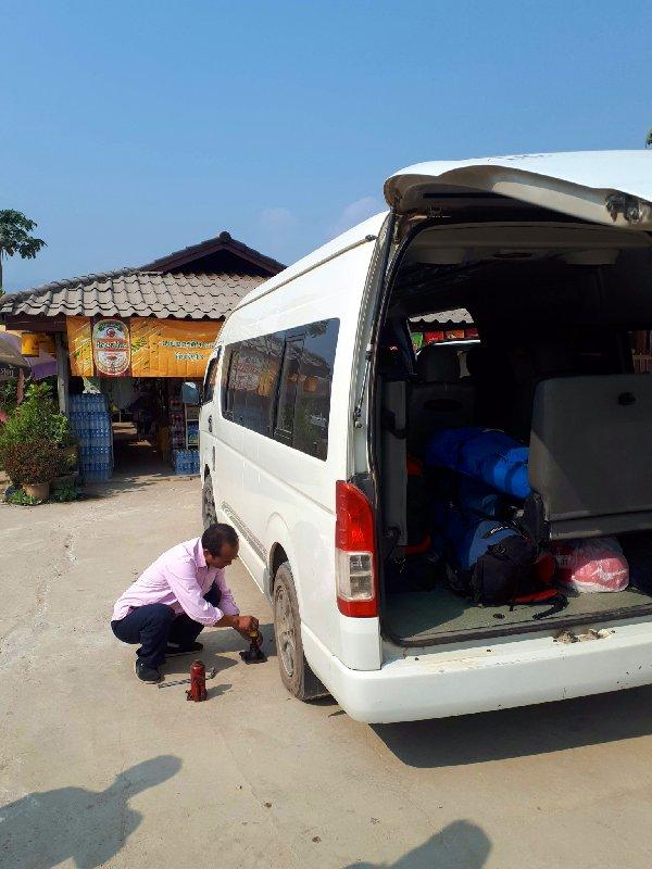 flat tyre laos minibus