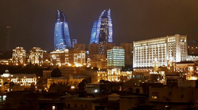 baku flame towers view azerbaijan