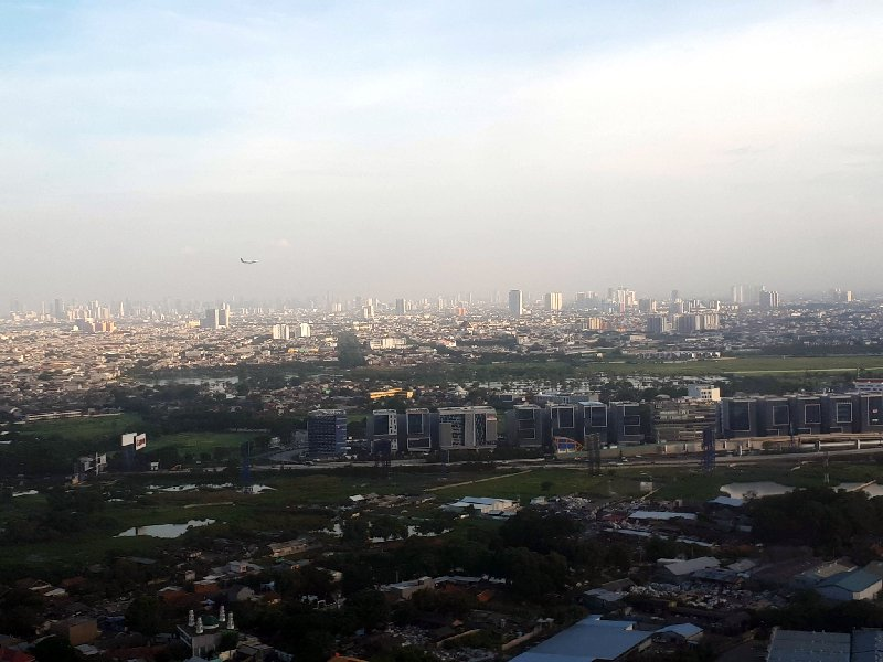 jakarta landing window view arrival