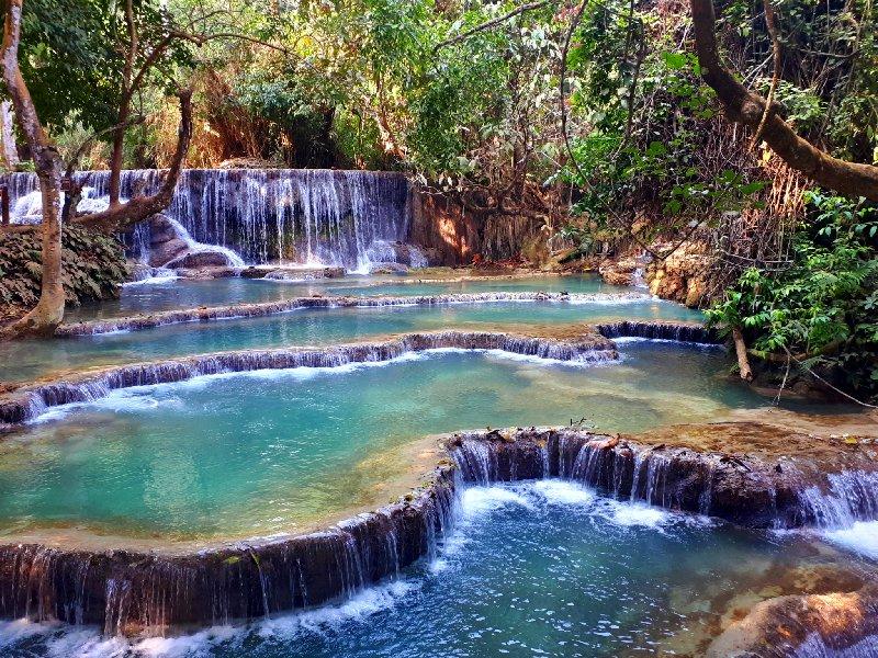 kuang si falls waterfall pool jungle