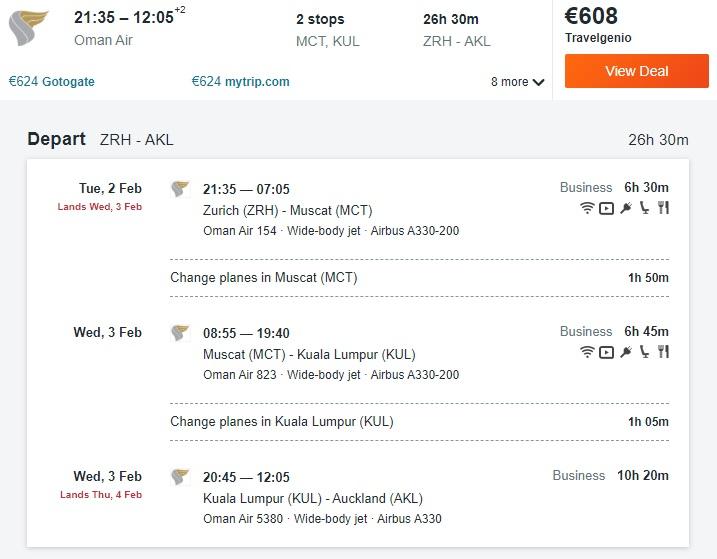zurich auckland oman air business class flight deal