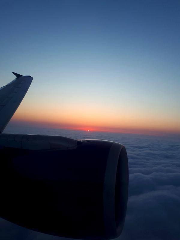 sunrise azerbaijan plane window view