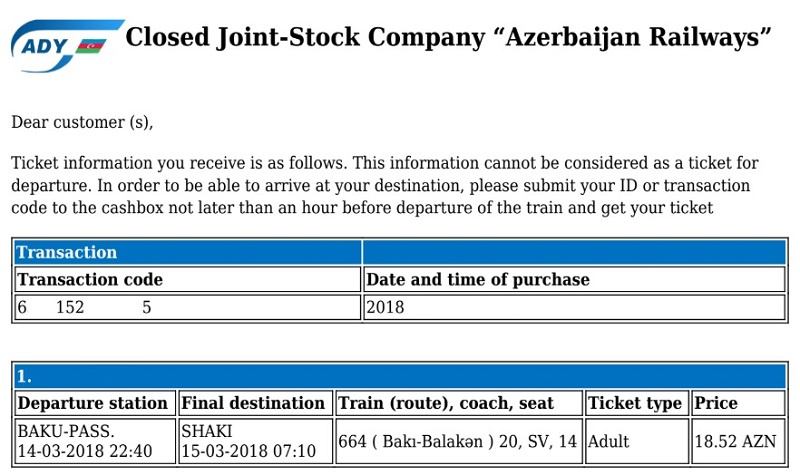 azerbaijan railways e-ticket