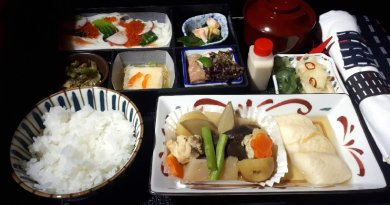 japanese breakfast set jal japan airlines business class boeing 787 review