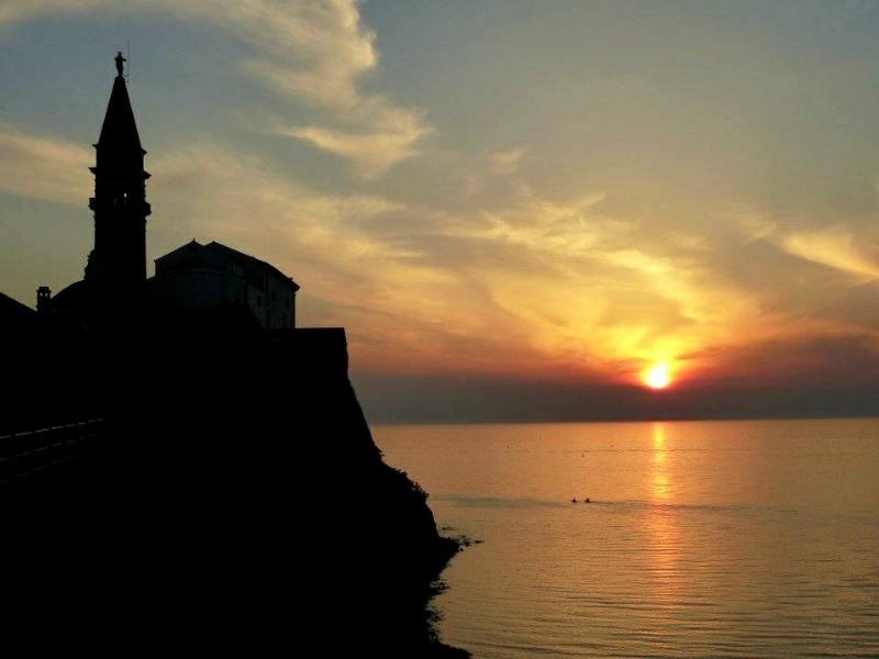 sunset piran slovenia