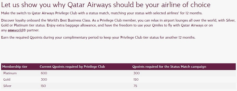 qatar airways status match