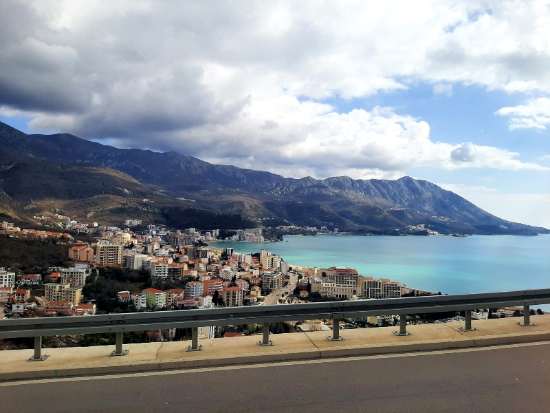 bus view budva adriatic sea montenegro