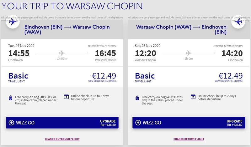 eindhoven warsaw flight