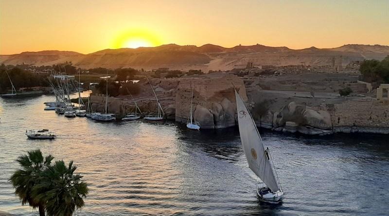 sunset nile egypt aswan