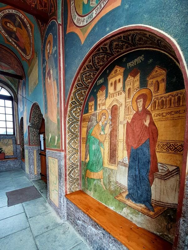 frescoes church porch
