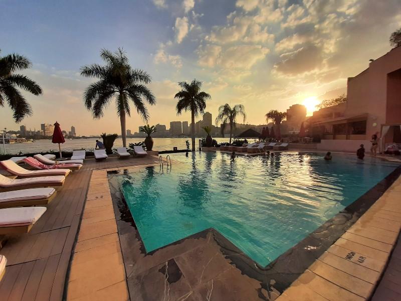 sunset swimming pool