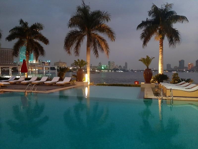 swimming pool dusk