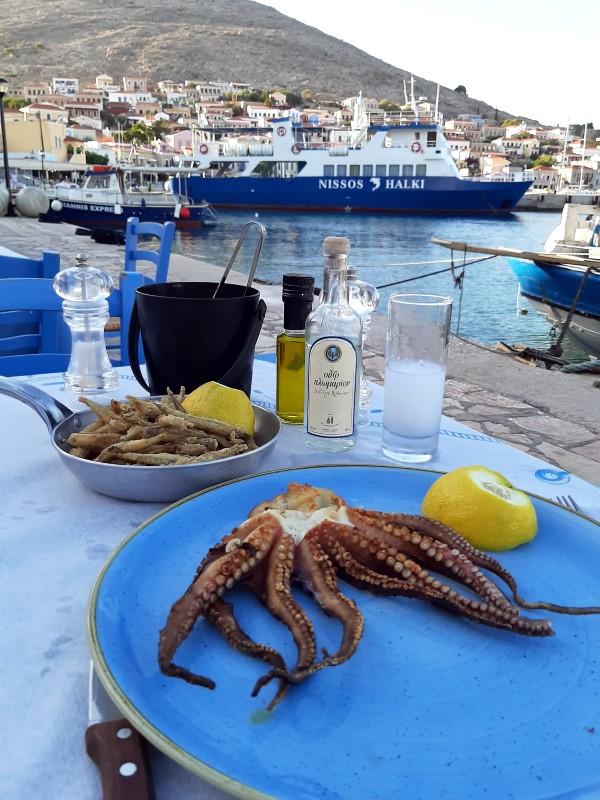 octopus gavros ouzo greek food dinner halki town