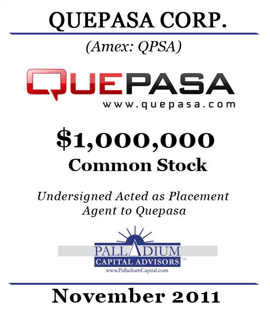 Palladium Capital Advisors Completes 1000000 Equity