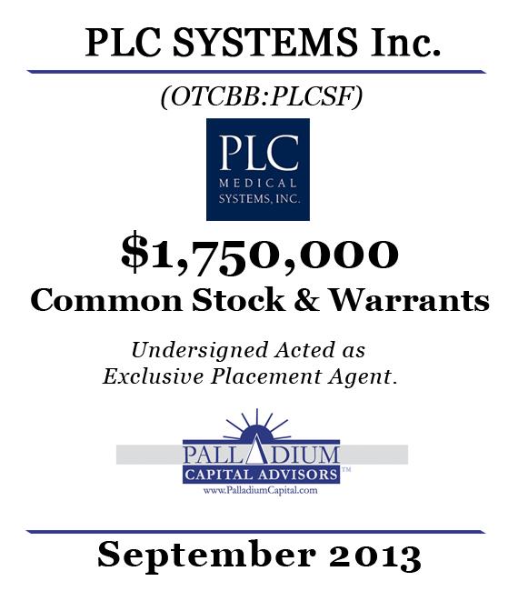 Palladium Capital Advisors Exclusive Agent for PLC Systems