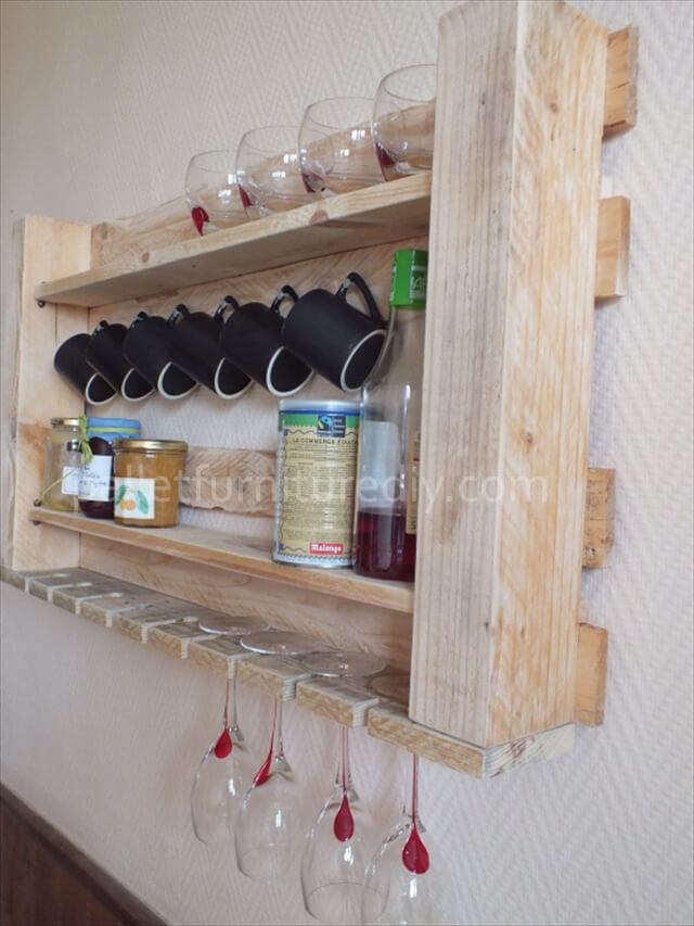 Pallet Kitchen Shelves for Storage  Pallet Furniture DIY
