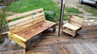 Pallet Bench with Small Chair | Pallet Furniture DIY