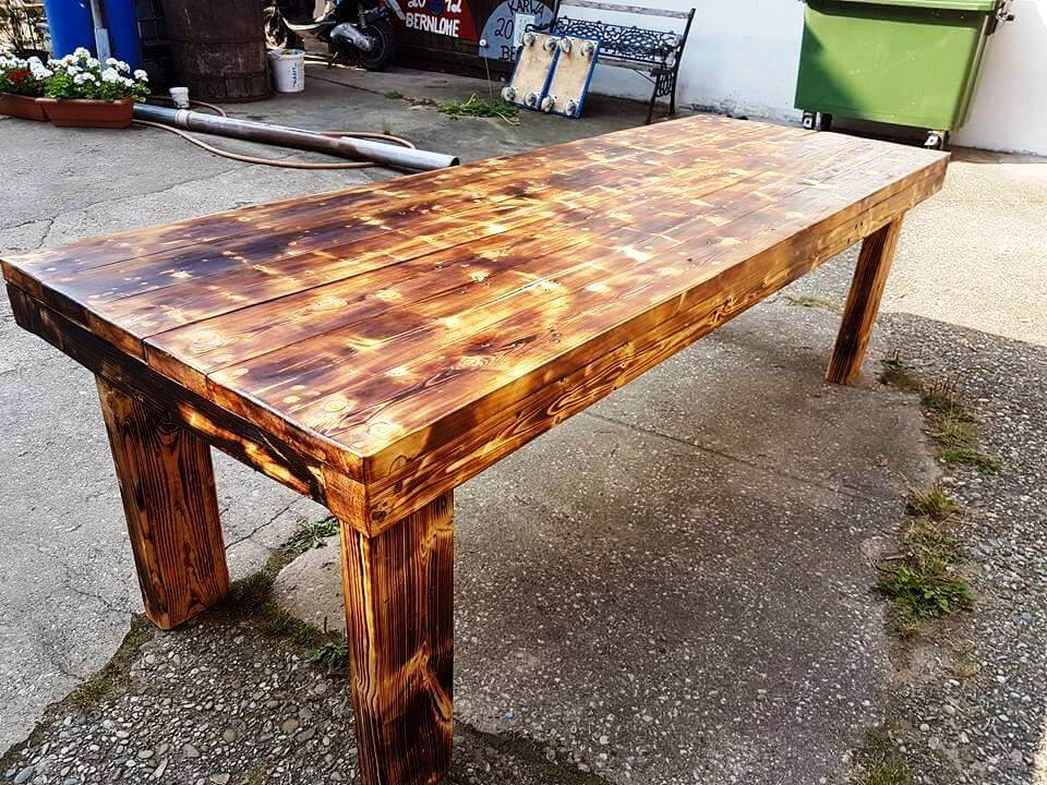 Fancy Dining Table From Pallets And Old Beams