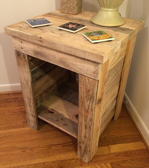 Diy Pallet Bedside Table Pallet Furniture Plans