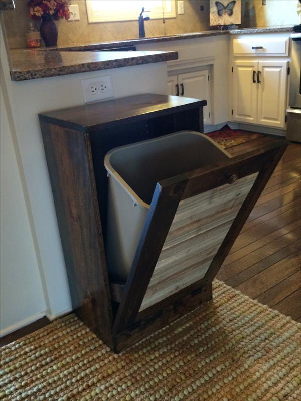Pallet Kitchen Trash Bin  Pallet Furniture Plans