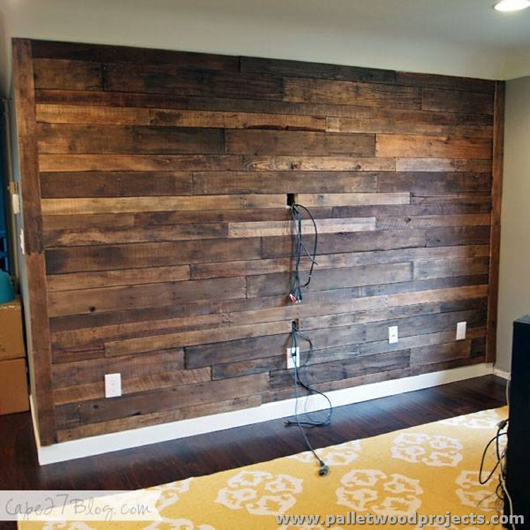 Cover Fireplace With Drywall Accent Wall Made Out Of Pallets | Pallet Wood Projects