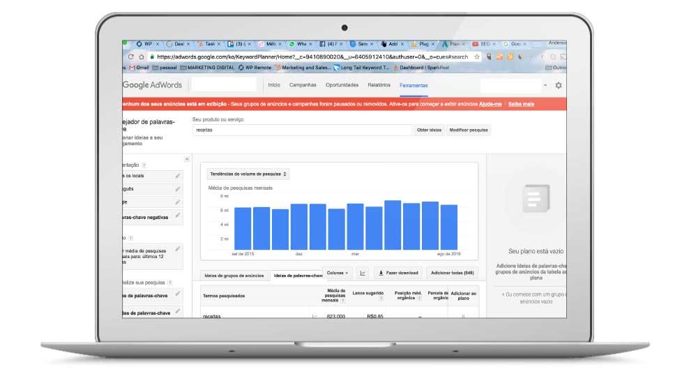 Visualize o Volume de Buscas do planejador de palavras chave do Google Novamente