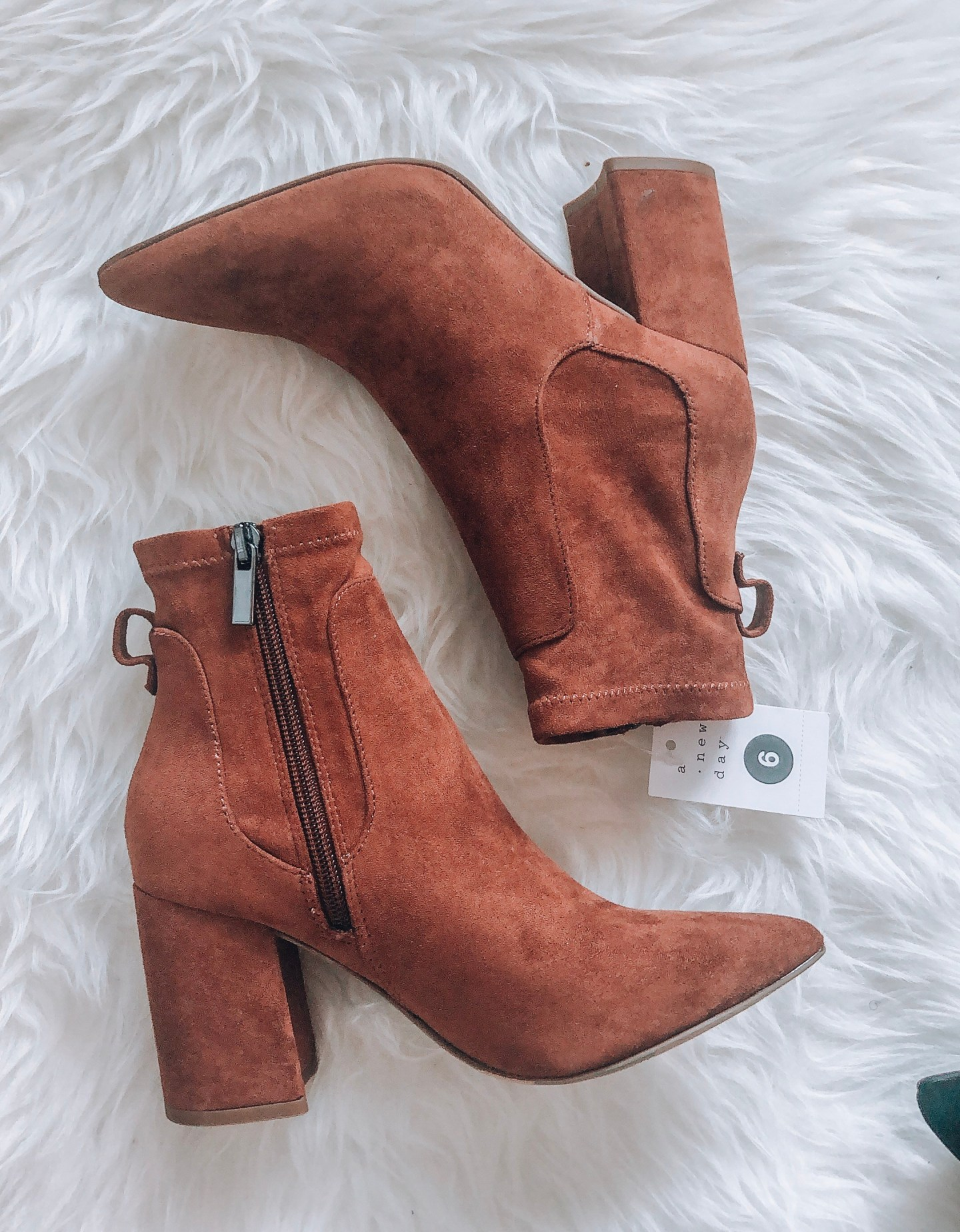 Pointed Sock Bootie in Cognac