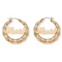 "Personalized Bamboo Hoop Earrings in 10k Gold (1 3/8"") at ..."