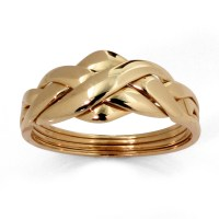 Commitment Symbol Braided Puzzle Ring in Solid 10k Yellow