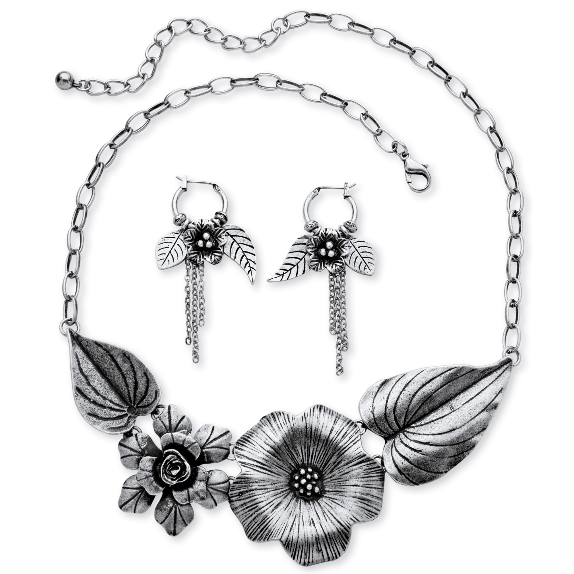 Silvertone Antique-Finish Flower and Leaf Bib Necklace and