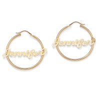 18k Gold over Sterling Silver Personalized Hoop Earrings ...