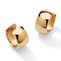 18k Gold over Sterling Silver Huggie-Style Hoop Lever-Back ...