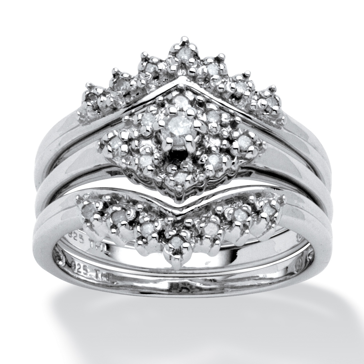 15 TCW Round Diamond 3Piece Bridal Set in Platinum over Sterling Silver at PalmBeach Jewelry