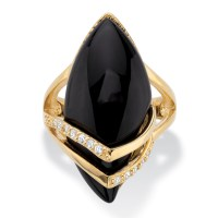 .16 TCW Genuine Onyx and Cubic Zirconia Ring Marquise Ring ...