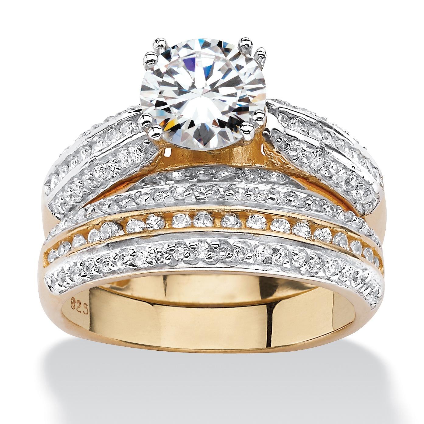 255 TCW Cubic Zirconia TwoPiece Bridal Set in18k Gold