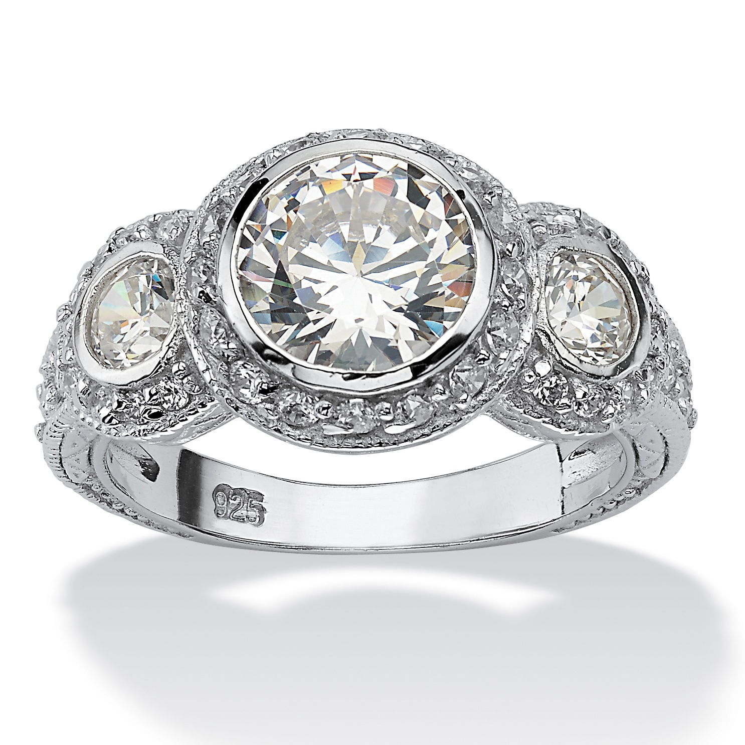 310 TCW Round Cubic Zirconia Sterling Silver Anniversary