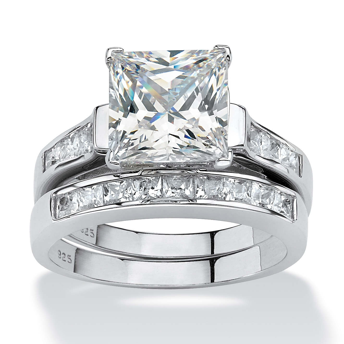 395 TCW PrincessCut Cubic Zirconia TwoPiece Bridal Set in Platinum over Sterling Silver at
