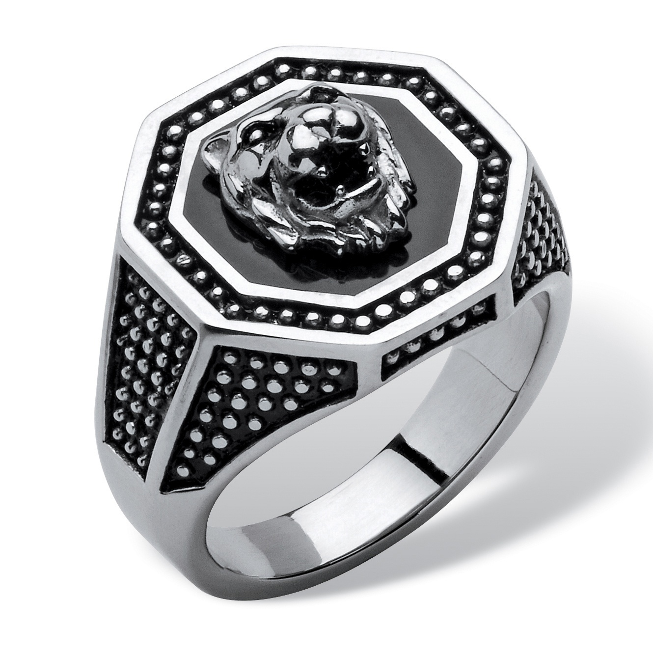 Mens Antiqued Stainless Steel Hexagon Lions Head Octagon