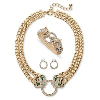 Pave Crystal and Simulated Emerald 3-Piece Necklace ...